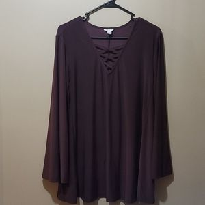 Blouse with full bell sleeve